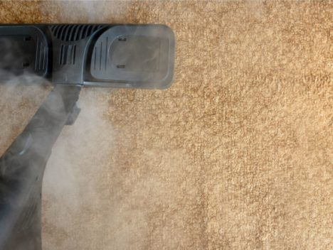 Steam cleaning for carpets - overhead shot