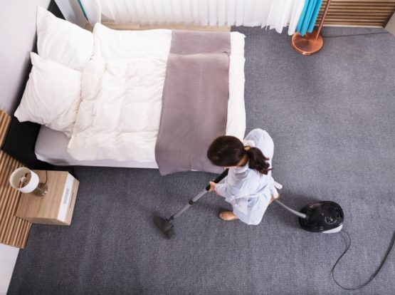 Bedroom Carpet Cleaning with vacuum