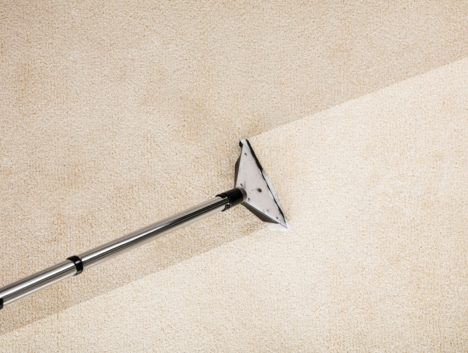 Overhead shot of a vacuum cleaning a carpet